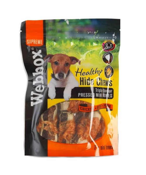 Webbox Hide Triple Flavour Pressed Mini Bones Dog Treats