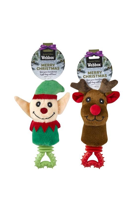 Webbox Festive Puppy Elf or Reindeer Rattle Assorted