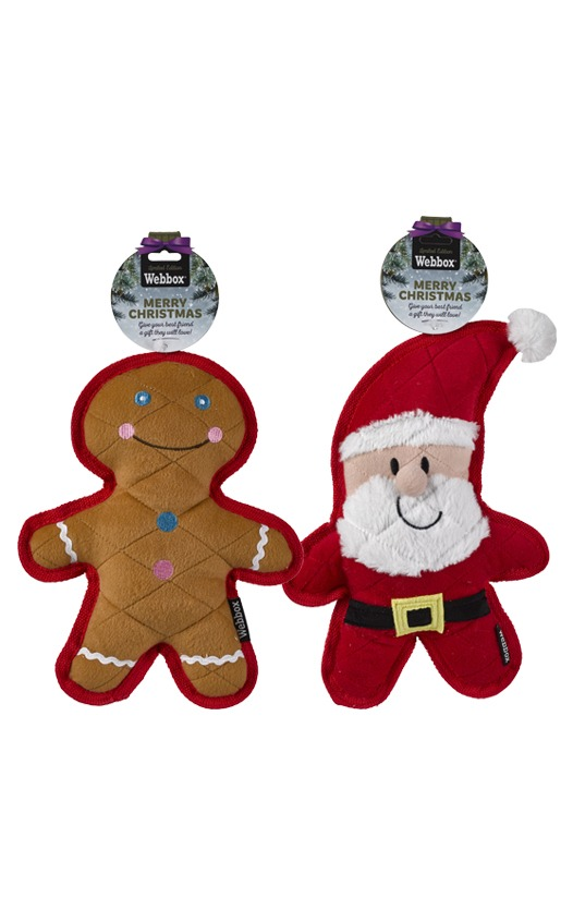 Webbox Festive Quilted Santa or Gingerbread Man Assorted