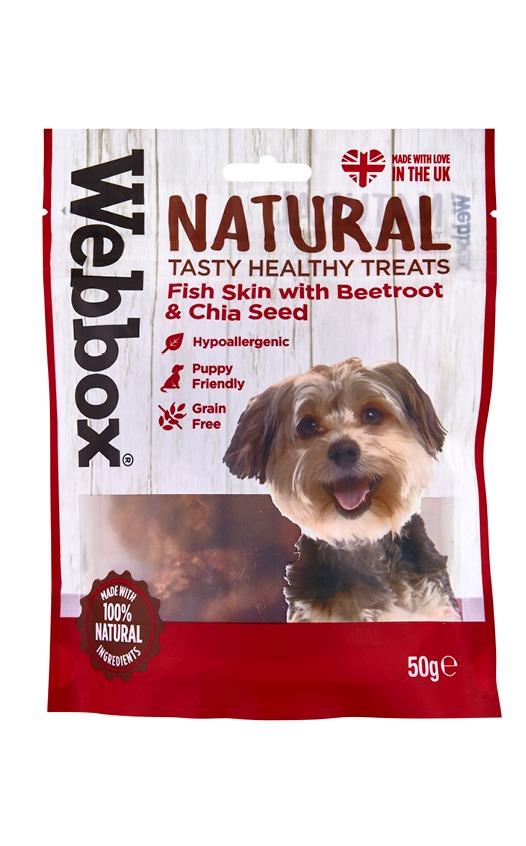 Webbox Natural Fish Skin with Beetroot & Chia  Dog Treats