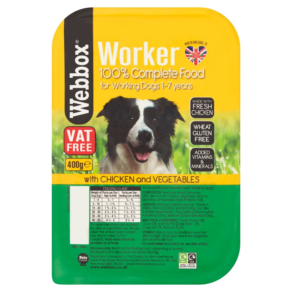 Webbox Working Dog Chicken 400g Tray