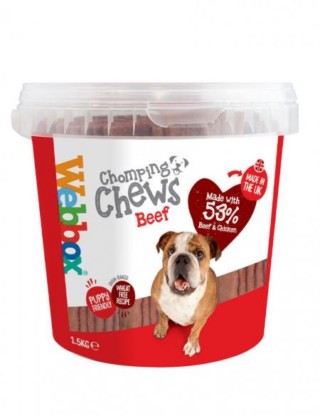 Webbox Chomping Chews Beef Tub Dog Treats